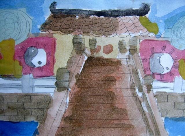 家乡风景铅笔画画