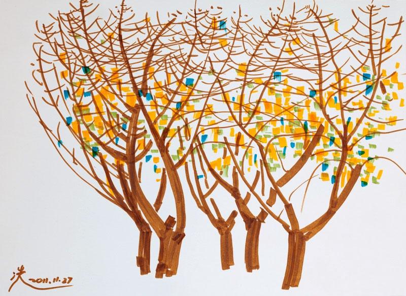 银杏树抽象图片