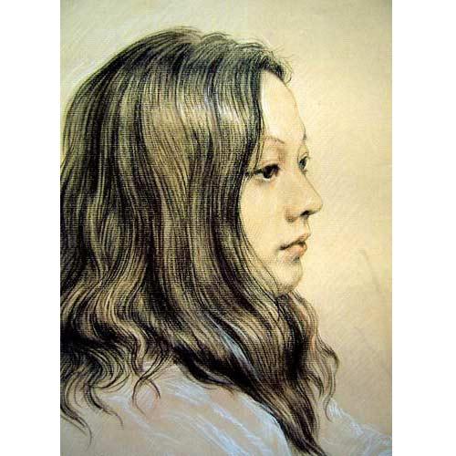 彩色铅笔素描,纸本手绘作品原稿,个人头像半身像素描写真,依据您发