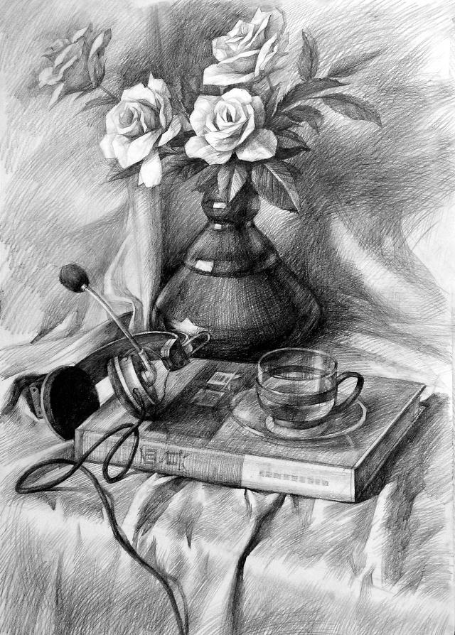 花卉用于素描静物的表现