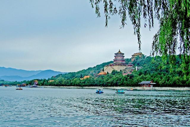 波光粼粼昆明湖,绿树浓郁万寿山
