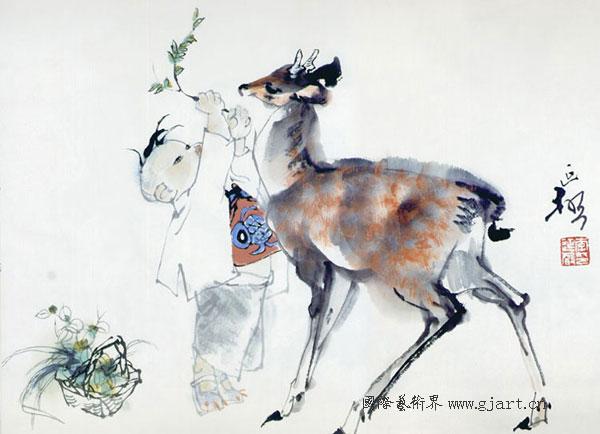 著名画家李延声国画作品欣赏-葡萄架的品徽阁-搜狐博