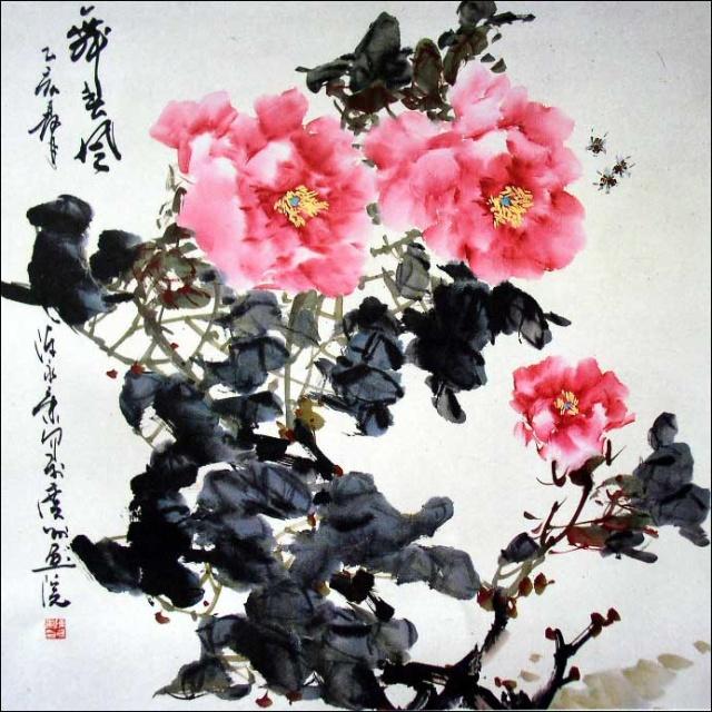 油画风景图片大树粉