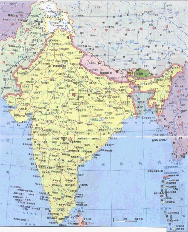 【印度地图中文版】