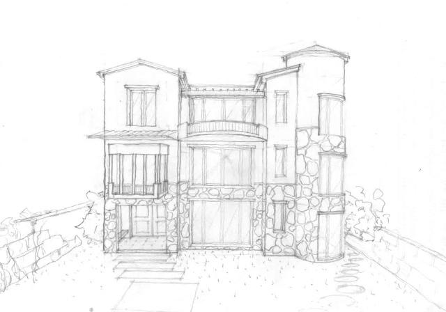 别墅立面线稿图