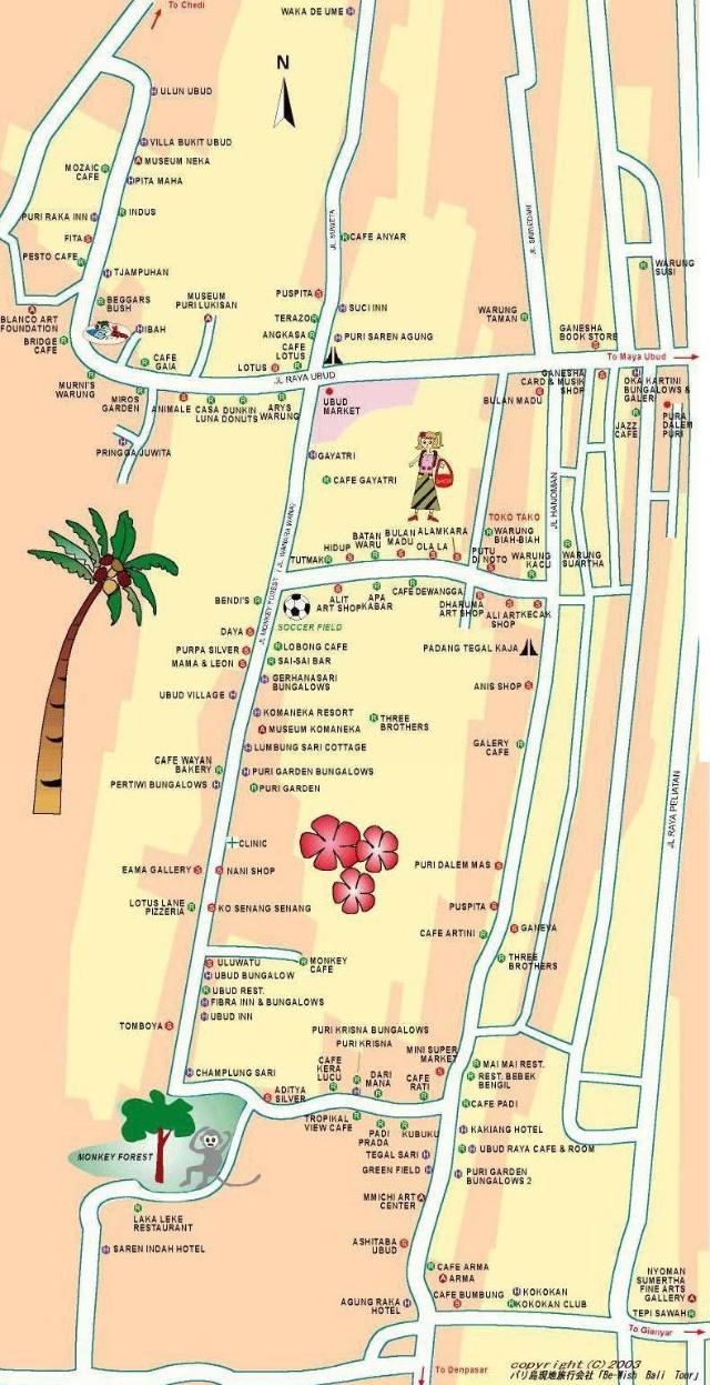巴厘岛地图手绘