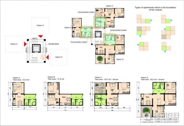 塔式酒店标准层平面图