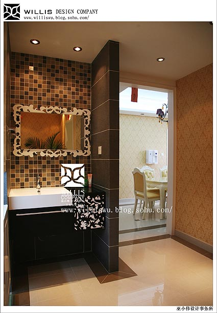 干湿分的洗手间,绚烂的镂空雕花