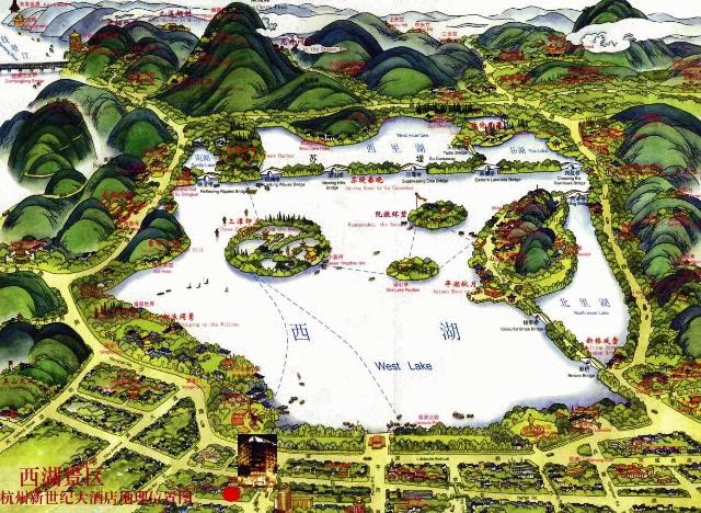 西湖景区游览地图