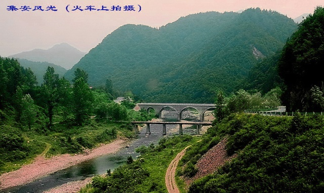 火车在崇山峻岭中穿行,凭窗观看风景,一路上青山绿水和大片的田野,很