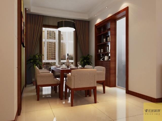 具体方案详见效果图.   餐厅酒柜的设计放在厨房推拉门一