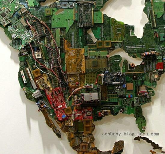 【八卦】国外妹纸太牛了!用电路板做成世界地图