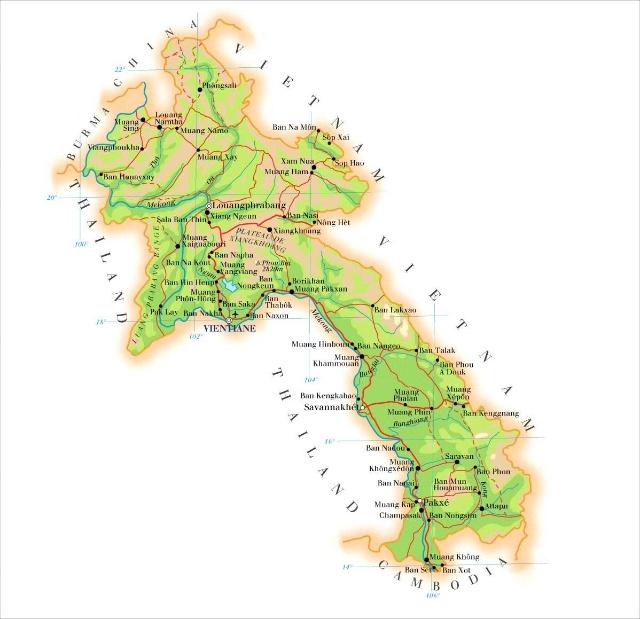 老挝地图及地缘环境