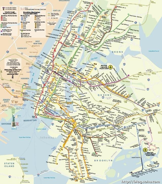 纽约地铁线路图-美国纽约旅游交通指南 纽约地铁具体情况介绍图片