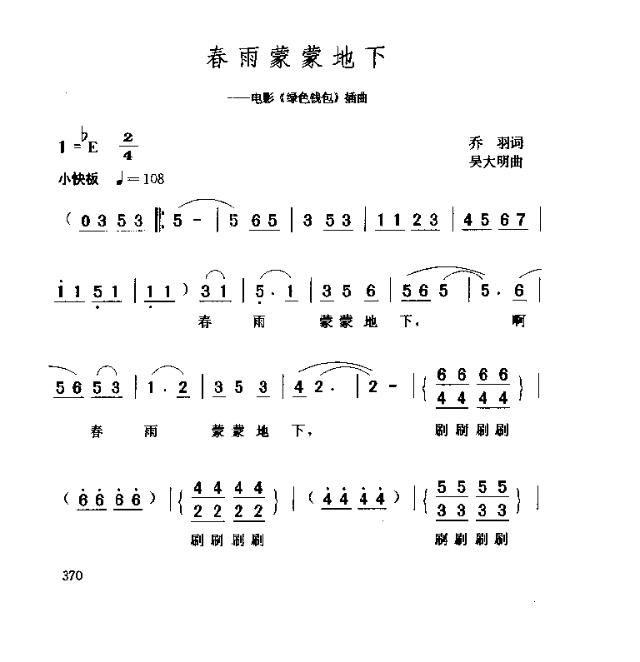春雨蒙蒙地下-曲谱歌谱大全-搜狐博客