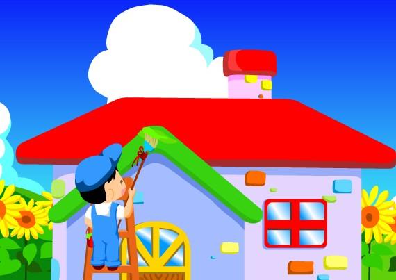粉刷匠卡通圖 房子