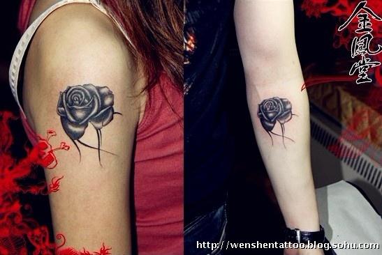 彼岸花纹身 字母纹身 耳后刺青图片