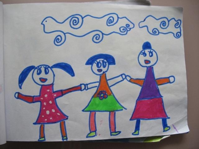 三個小朋友手拉手簡筆畫分享展示