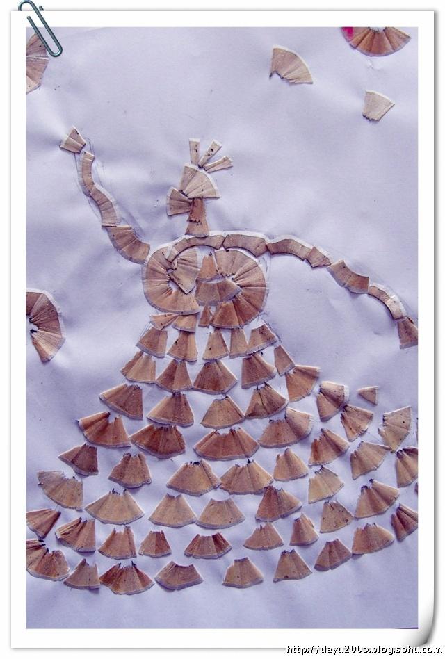 【手工】近期作品两幅:铅笔屑画之舞娘+纸板装饰画之花